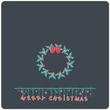 E-carta piana di Buon Natale di progettazione di Minimalistic con la corona del nastro del vischio di natale Immagine Stock Libera da Diritti