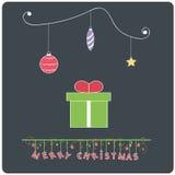 E-carta piana di Buon Natale di progettazione di Minimalistic con regalo di Natale Immagine Stock