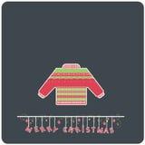 E-carta piana di Sweather di Buon Natale di progettazione di Minimalistic Immagini Stock Libere da Diritti