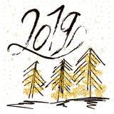 2019 e cartolina d'auguri di lerciume degli alberi di Natale royalty illustrazione gratis