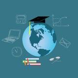 E che impara concetto, istruzione, scienza, illustrazione piana di vettore Fotografia Stock