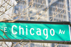 E. Chicago Ave sign stock images