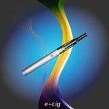 E-Cig auf glühendem blauem Hintergrund mit Text Stockfoto
