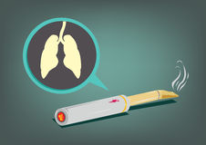 E-Cigar Smoking with Lungs in focus and vapor from cartridge. Electronic cigarette with a shape of lungs anatomy inside a balloon and in focus. Vector and jpg stock illustration