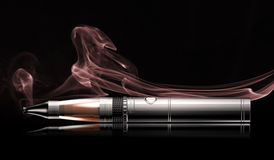 E-cigarette. On a black background with smoke vector illustration