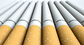 E Cigarette collection. A close up of a laid out collection of regular electronic cigarettes with a glowing red tip on an isolated white studio background Stock Photos