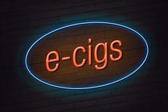 E-cigarette concept neon sign Stock Image