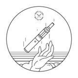 E-cigarette in hand. vape smoking concept, lineart illustration. E-cigarette in hand. vape smoking concept, lineart illustration Stock Image