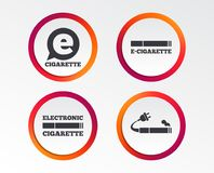 E-Cigarette signs. Electronic smoking icons. E-Cigarette with plug icons. Electronic smoking symbols. Speech bubble sign. Infographic design buttons. Circle Stock Images