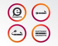 E-Cigarette signs. Electronic smoking icons. E-Cigarette with plug icons. Electronic smoking symbols. Speech bubble sign. Infographic design buttons. Circle Royalty Free Stock Photos