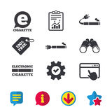 E-Cigarette signs. Electronic smoking icons. E-Cigarette with plug icons. Electronic smoking symbols. Speech bubble sign. Browser window, Report and Service Stock Image