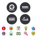 E-Cigarette signs. Electronic smoking icons. E-Cigarette with plug icons. Electronic smoking symbols. Speech bubble sign. Calendar, Information and Download Royalty Free Stock Photos