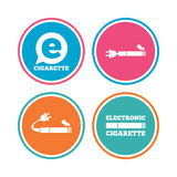 E-Cigarette signs. Electronic smoking icons. E-Cigarette with plug icons. Electronic smoking symbols. Speech bubble sign. Colored circle buttons. Vector Royalty Free Stock Images