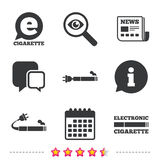 E-Cigarette signs. Electronic smoking icons. E-Cigarette with plug icons. Electronic smoking symbols. Speech bubble sign. Newspaper, information and calendar Royalty Free Stock Image