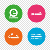 E-Cigarette signs. Electronic smoking icons. E-Cigarette with plug icons. Electronic smoking symbols. Speech bubble sign. Round buttons on transparent Royalty Free Stock Images