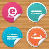 E-Cigarette signs. Electronic smoking icons. Royalty Free Stock Photo