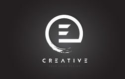 E Circular Letter Logo with Circle Brush Design and Black Background. royalty free illustration