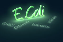 E.Coli disease text. Computer generated rendering of EHEC coli bacteria text Stock Images