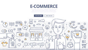 E-comerce Doodle Concept. Doodle design style concept of e-commerce sales, online shopping, digital marketing and customer buying experience. Modern line style