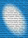 E-commerce. Complete e-commerce text filled in gradient background Royalty Free Stock Photography