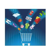 E-commerce. Vector illustration of shopping cart with binary code background Stock Images