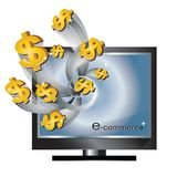E-commerce. Concept money flying out of computer monitor  illustration isolated on white background Stock Photo