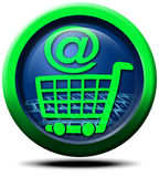 E-commerce. 3D icon and symbol-commerce internet shopping cart and keyboard Stock Photos