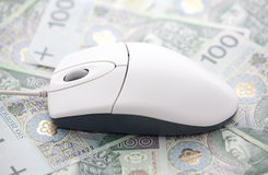 E-commerce. Computer mouse on polish money Royalty Free Stock Images