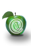 E-Commerce. Green Apple with leaf Stock Photo