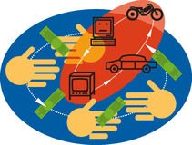 E-commerce. Money changes hands and products are purchased online in the cycles of e-commerce Stock Photos