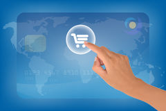 E-commerce. Concept with a female hand clicking on chart button Royalty Free Stock Image