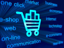 E-commerce background with cart icon. 3D blue background with cart icon Stock Photos