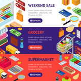 E-commerce Banner Horizontal Set. Vector. E-commerce Banner Horizontal Set Mobile Shopping Technology and Delivery Service Isometric View. Vector illustration Royalty Free Stock Photos