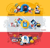 E-commerce Banners Set. E-commerce horizontal banners set with support goods buying elements   illustration Stock Images
