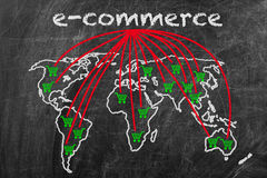 E-commerce business. Written on a blackboard with world map sign Royalty Free Stock Photos