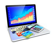 E-commerce and business analyzing. Business improvement ,finance analyzing and e-commerce concept. Laptop with credit cards, dollar money and electronic Royalty Free Stock Photo