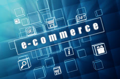 E-commerce and business signs in blue glass cubes Stock Image