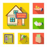 E-commerce and business flat icons in set collection for design. Buying and selling vector symbol stock web illustration. E-commerce and business flat icons in Royalty Free Stock Image