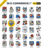 E-commerce business icons. E-commerce business outline icons modern style for website or print illustration Royalty Free Stock Photography