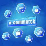 E-commerce and business internet signs in hexagons Stock Image
