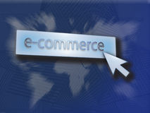 E-commerce button. Button saying e-commerce over a map of the world Royalty Free Stock Images