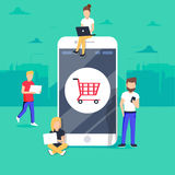 E-commerce cart concept illustration of young people using mobile gadgets such as tablet and smartphone. For online purchasing and ordering goods. Flat guys and Royalty Free Stock Image