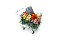 E-commerce Christmas shopping time - Side view Stock Photos