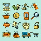 E-commerce color icons set Stock Photos