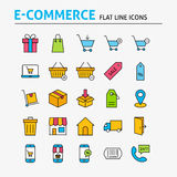 E-commerce Colorful Flat Line Icons Set. Vector Set of 25 Online Shopping and Sale Modern Thin Outline Icons for Web and Mobile. Linear Icons Collection Stock Images