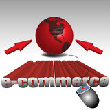 E-commerce concept. Abstract colorful illustration with red globe, two cursors, computer mouse and the text e-commerce written with huge letters Royalty Free Stock Photography