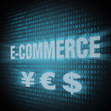 E-commerce concept. E-commerce sign on lcd screen close up. Concept illustration Stock Image
