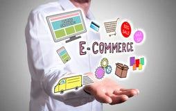 E-commerce concept above a human hand stock photos