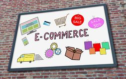 E-commerce concept on a billboard. E-commerce concept drawn on a billboard fixed on a brick wall royalty free stock image