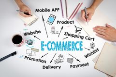 E-Commerce Concept. Chart with keywords and icons. Meeting at the white office table stock photos